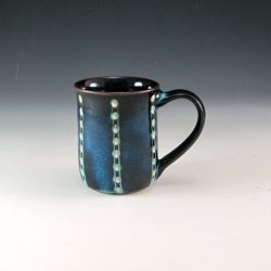 Blue and white dot mug