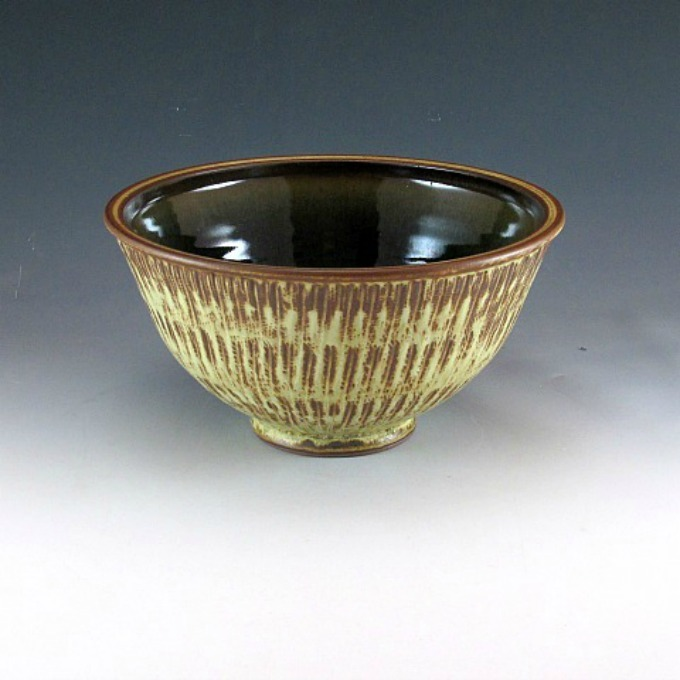 Beige Semi-Gloss Serving Bowl