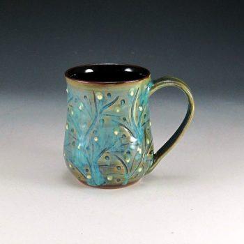 Decorated Turquoise Mug