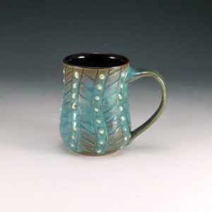 Decorated and Textured Turquoise Mug