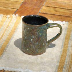 Shiny Green-Glaze Mug with Texture Divots