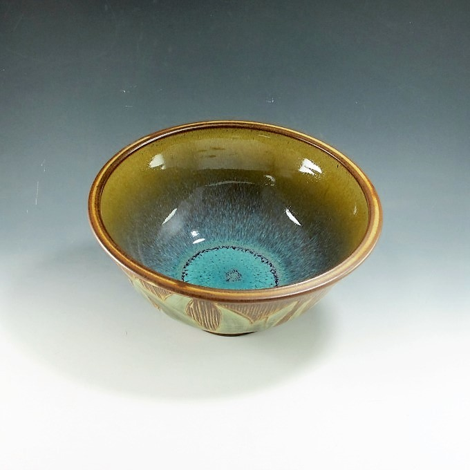Serving Bowl with Leaf Design and Turquoise Interior